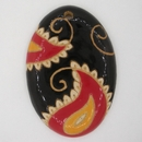 PPD-002 Black / Red Paisley Pendant