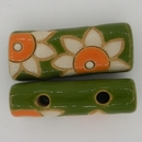 MHB-29 White and Orange Flower Bead with 2 holes