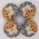 CLB-061-A-M - Golem Studio lentil bead in Light Blue Paisley