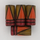 CTB-09-Q tube bead in Red Stripes with Orange and Yellow Triangles
