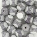 2 x 11mm White / Grey Stone 3 cut beads
