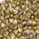 Two hole Crystal Amber 6mm Pyramids