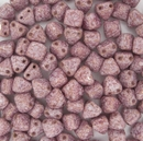 10 x 6mm pyramids in Alabaster/Teracota Purple