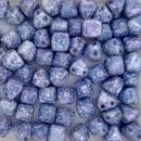 10 x 6mm pyramids in Alabaster/Teracota Blue