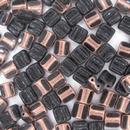 12 x 6mm Czech Tiles in Black/Capri Gold