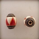 COB-03-B Black Stripes, Red and White Triangle oval bead