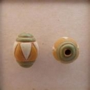 COB-03-D Green Stripes, Orange and White Triangles oval bead