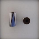 CTB-06-C Golem Studio tube bead in Blue and White triangles