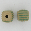 RRB-10-A square bead in Blue Stripes in Light Relief