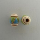 COB-03-C - Golem Studio oval bead in Blue and Green triangles