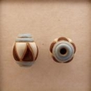 COB-03-E Blue Stripes, Brown and White Triangles oval bead