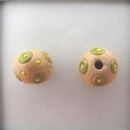 SB-85-D Lime circles and Yellow dots round bead