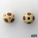 SB-85-H Brown circles and Red dots round bead