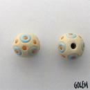 SB-85-E Turquoise circles and Orange dots round bead