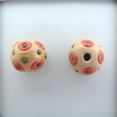 SB-85-G round bead in Coral circles and Green dots