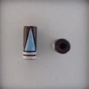 CTB-09-D tube bead in White Stripes with Blue Triangles