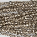 50 x 4mm faceted beads in Metallic Smokey Ice