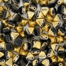 10 x Two hole Black / Amber 6mm Pyramids