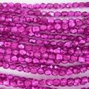 50 x 4mm faceted beads in Metallic Hot Pink Ice