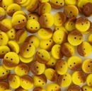 25 x piggy beads in Yellow/Brown
