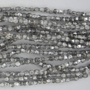 50 x 2mm faceted Silver / Crystal beads