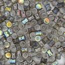 50 x Graphite Rainbow Diabolo shaped beads