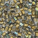 50 x Golden Rainbow Diabolo shaped beads