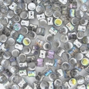 50 x Silver Rainbow Diabolo shaped beads