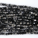 50 x 2mm faceted beads in Black/Chrome