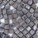 6mm Two hole Gunmetal / Red Lustre square beads