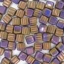 6mm Purple Lustre square beads