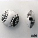 CLB-068-A-M White on Dark Clay Paisley Flower Lentil bead