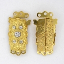 Gold plated clasp with crystals and 3 rows 8220