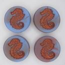 23mm Matt Blue and Purple Seahorse bead