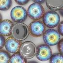 14mm Graphite Rainbow Dome Beads