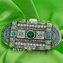 Claspgarten very large Old Palladium clasp with 7 rows 14703 Greens and Blue - 61x31mm