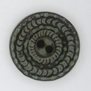 Dark Brown / Green glaze carved ceramic button 1