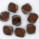 14x15mm Dark Topaz / Picasso Table Cut bead