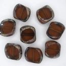 14x15mm Dark Topaz / Picasso Table Cut bead