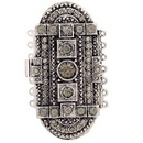 14703 - Claspgarten very large Old Palladium clasp with 7 rows in Black Diamond - 61x31mm