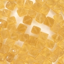 6mm Yellow cubes with diagonal hole (vintage)