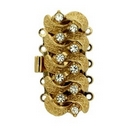 13695 - Claspgarten Gold textured clasp with 5 rows - 29x12mm