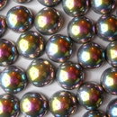 4 x 14mm dome beads in Black Vitrail