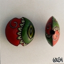 CLB-062-L-M Red and Green Paisley lentil bead