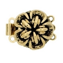 Claspgarten Old Gold clasp with 3 rows 13474 - 12x12mm
