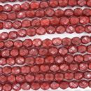 6mm string of snake skin beads in Dark Coral