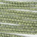4mm string of snake skin beads in Lime Green