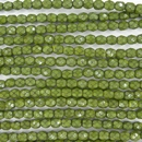 38 x 4mm snake skin beads in Olivine Green