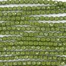 4mm string of snake skin beads in Olivine Green