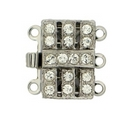 13219 - Claspgarten Silver clasp with 3 rows - 13x9mm